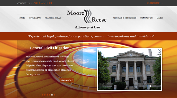 Moore and Reese Law Firm Website