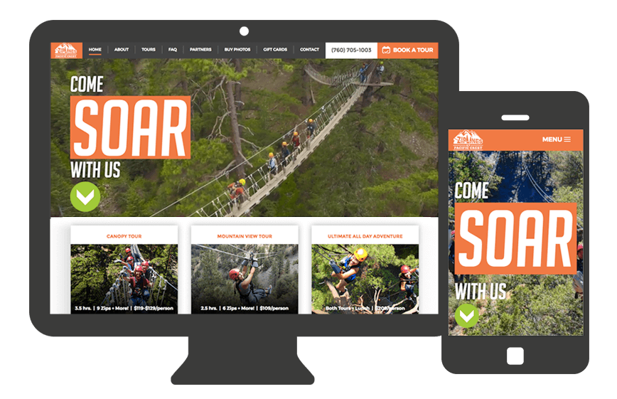 Web Design for Outdoor Adventure Company in Wrightwood, California – Ziplines at Pacific Crest