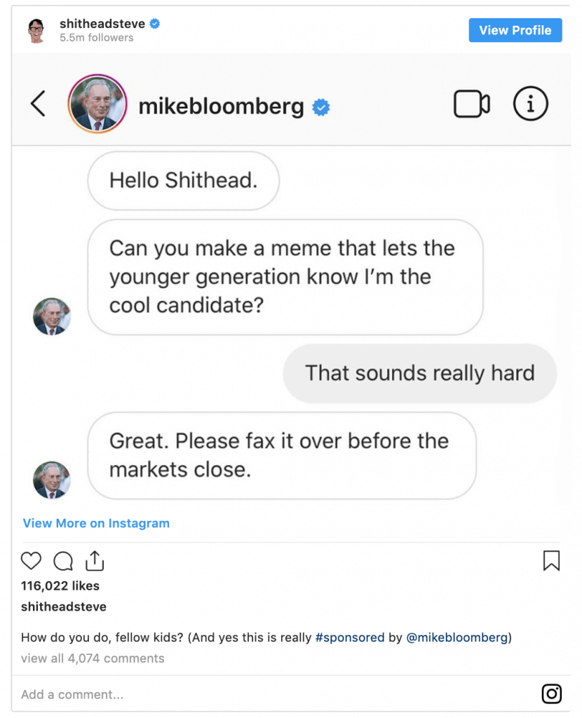 One of the many influencer ads created by the Bloomberg campaign